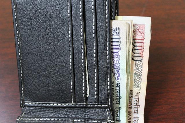 peněženka s bankovkami